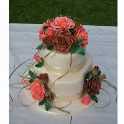 2 tier Version with Salmon and Brown Sugarcraft Roses