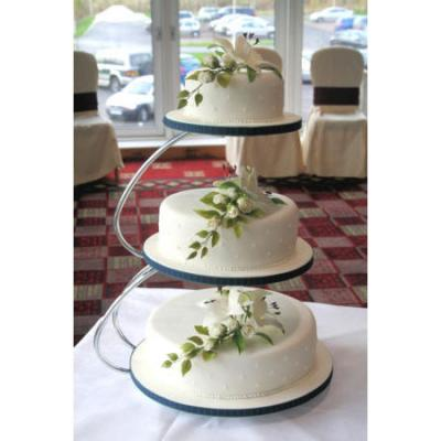 Three Tier Wedding Cake with Flock Dot Icing