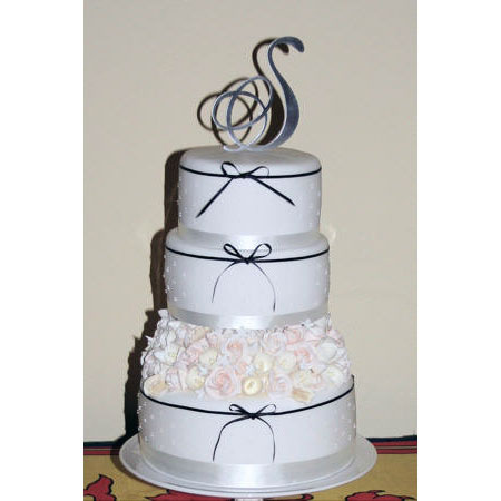 Three Tier Wedding Cake on Pedestal Cake Stand