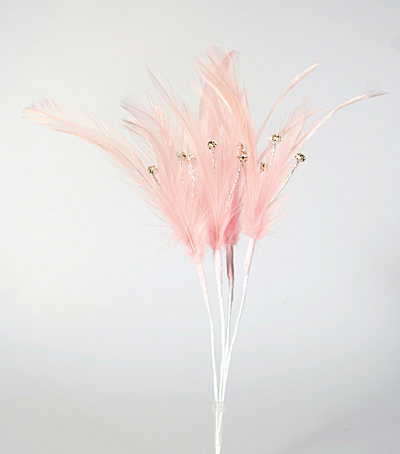 Pale Pink Diamante Feathers