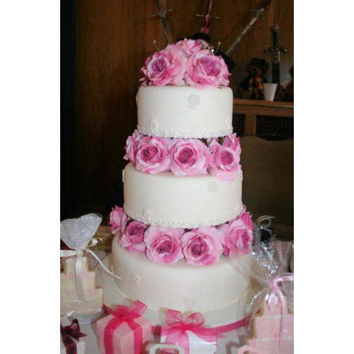 Wedding Cake with Silk Roses