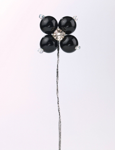 Black Diamante Pearl Cake Decorations