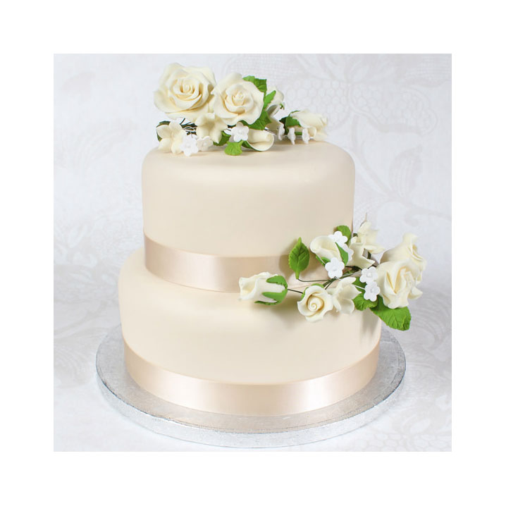 2 tier Ivory theme Wedding Cake