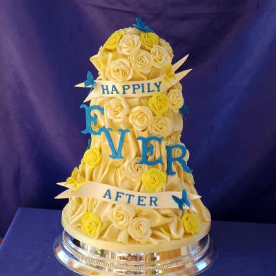 Cobalt Blue and Yellow themed Happily Ever After Wedding Cake