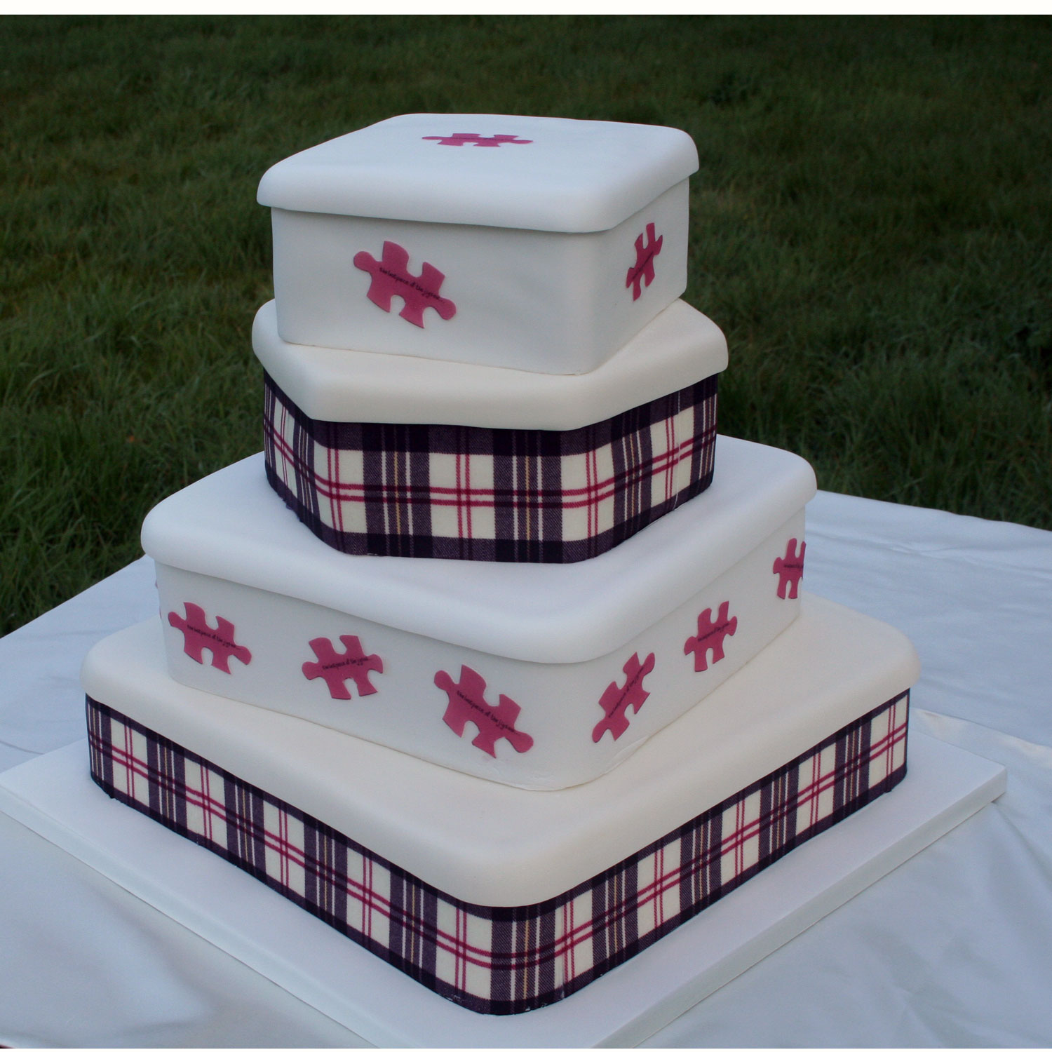 Final Piece of the Puzzle Wedding Cake