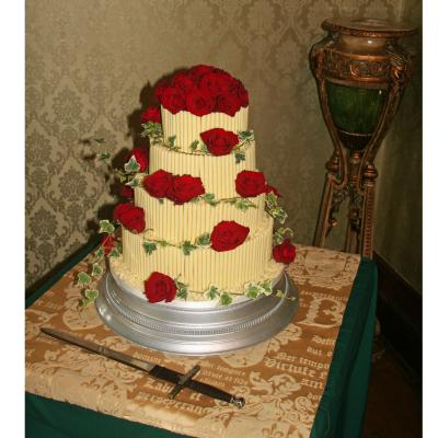 Chocolate Wedding Cake with Fresh Red Roses