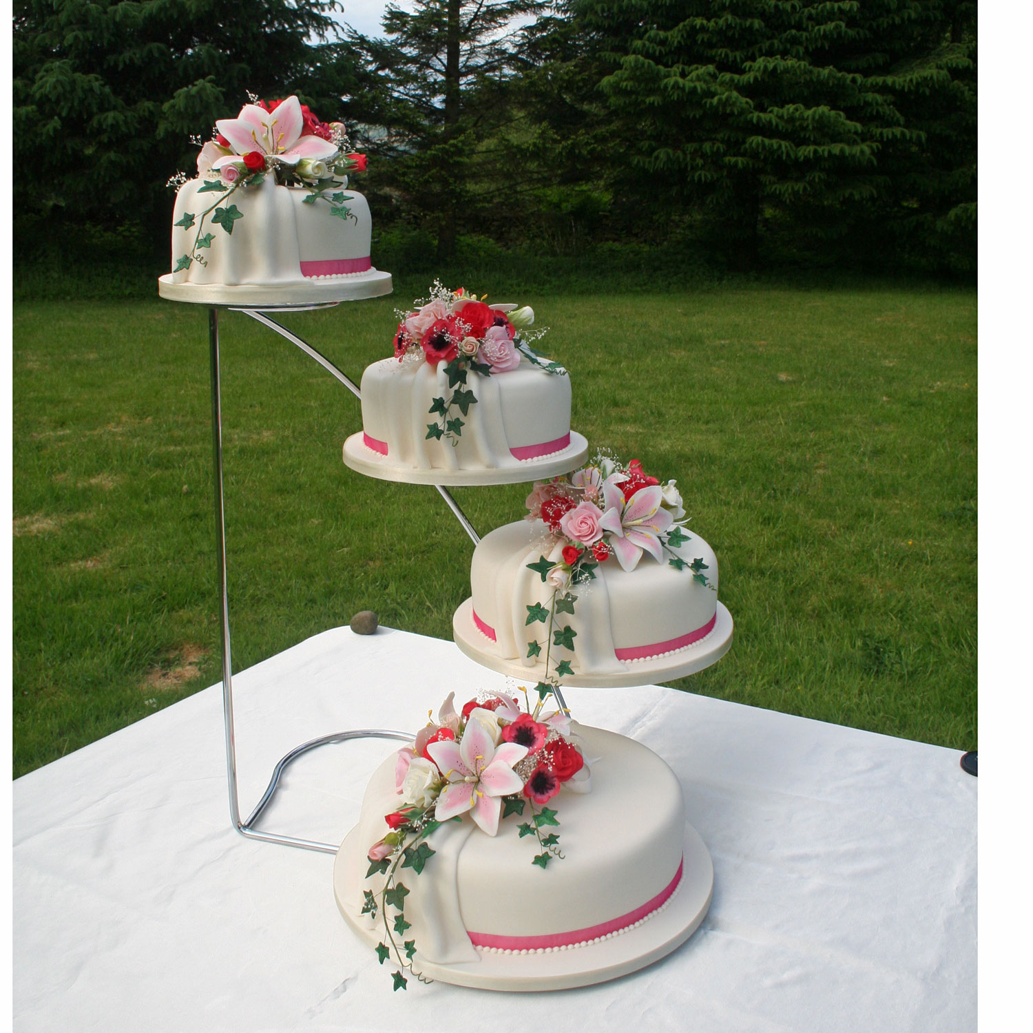 Four Tier Wedding Cake with Icing Drapes