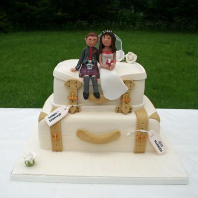 Just Married Suitcase Wedding Cake
