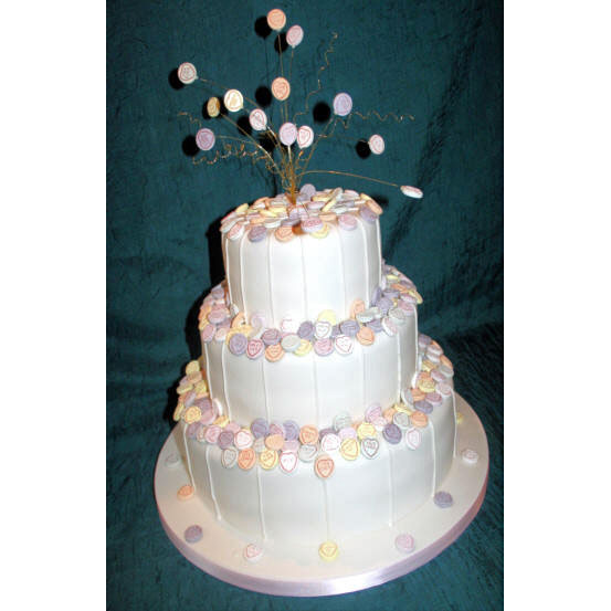 Wedding Cake with Love Hearts