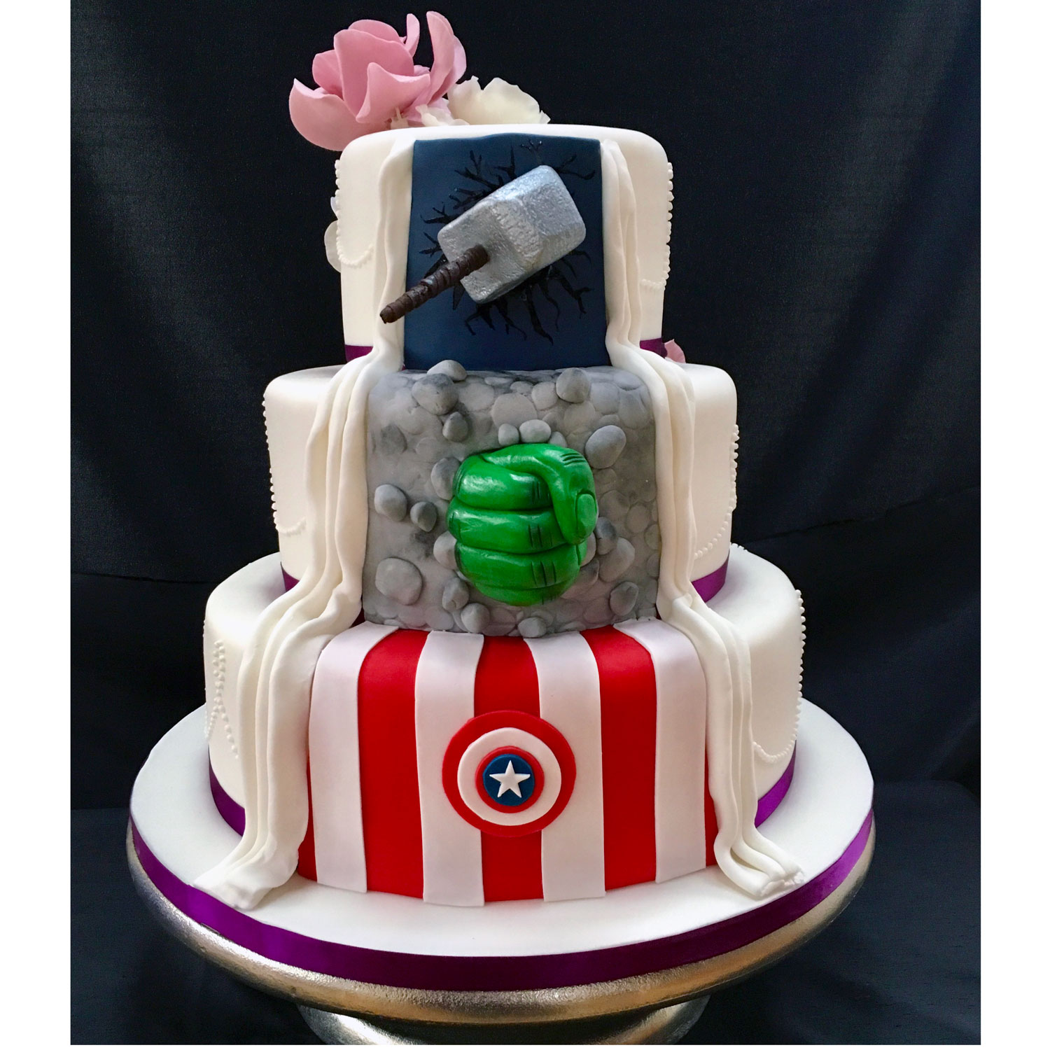 Marvel Reveal Wedding Cake