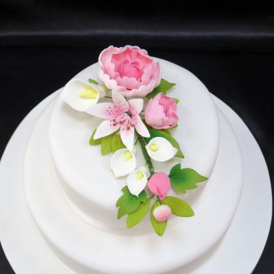 Pink Peony Rose and Lily Cake Decoration