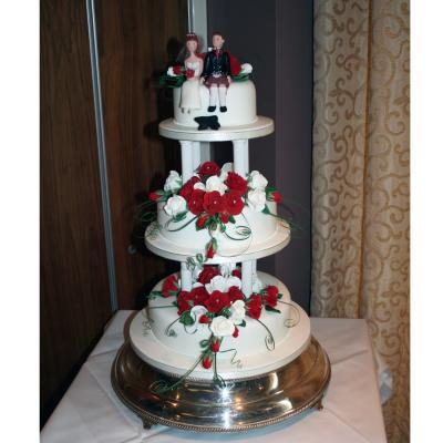 Three Tier Pillared Wedding Cake