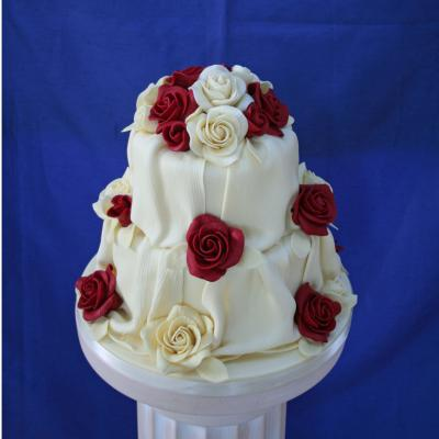 White Belgian Chocolate Drape Wedding Cake