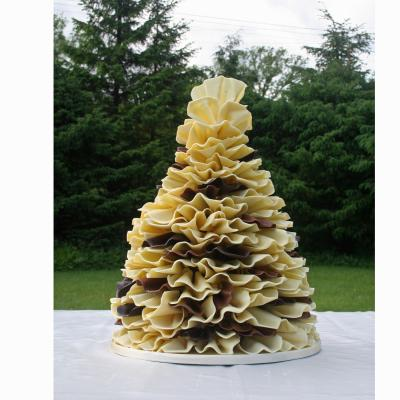 White and Milk Chocolate Ruffle Wedding Cake