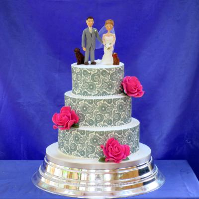 Wedding Cake with Edible Paisley Icing