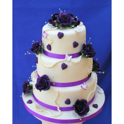 Cake Decorated with Purple Roses, Hearts and Edible Pearls