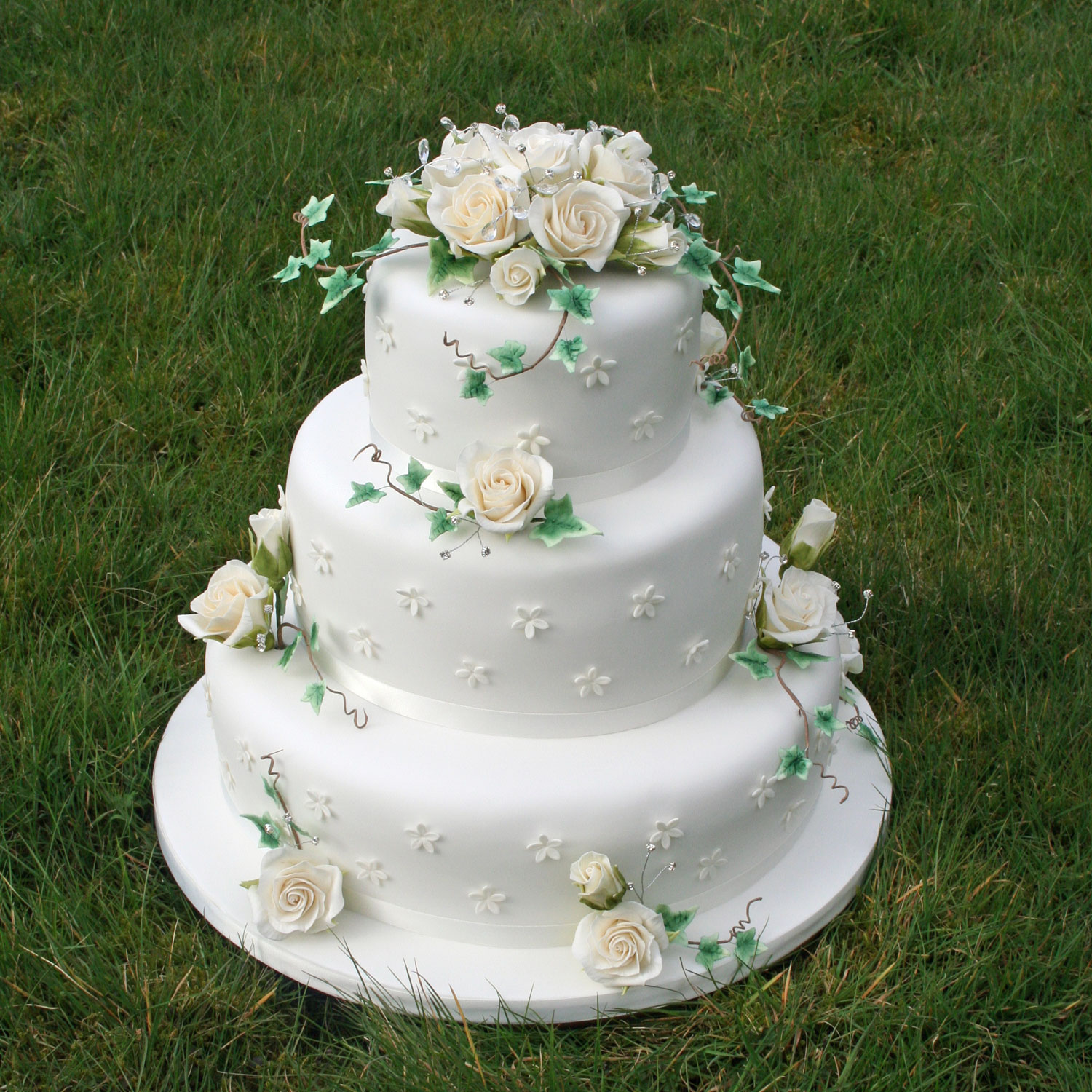 3 tier Wedding Cake with Sugarcraft Flowers