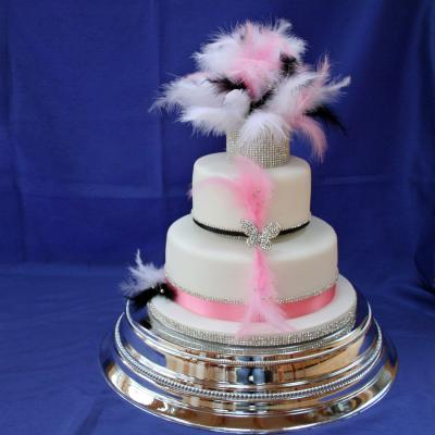 Wedding Cake with Feathers and Diamantes