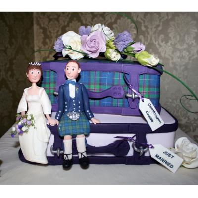 Tartan Suitcase Wedding Cakes