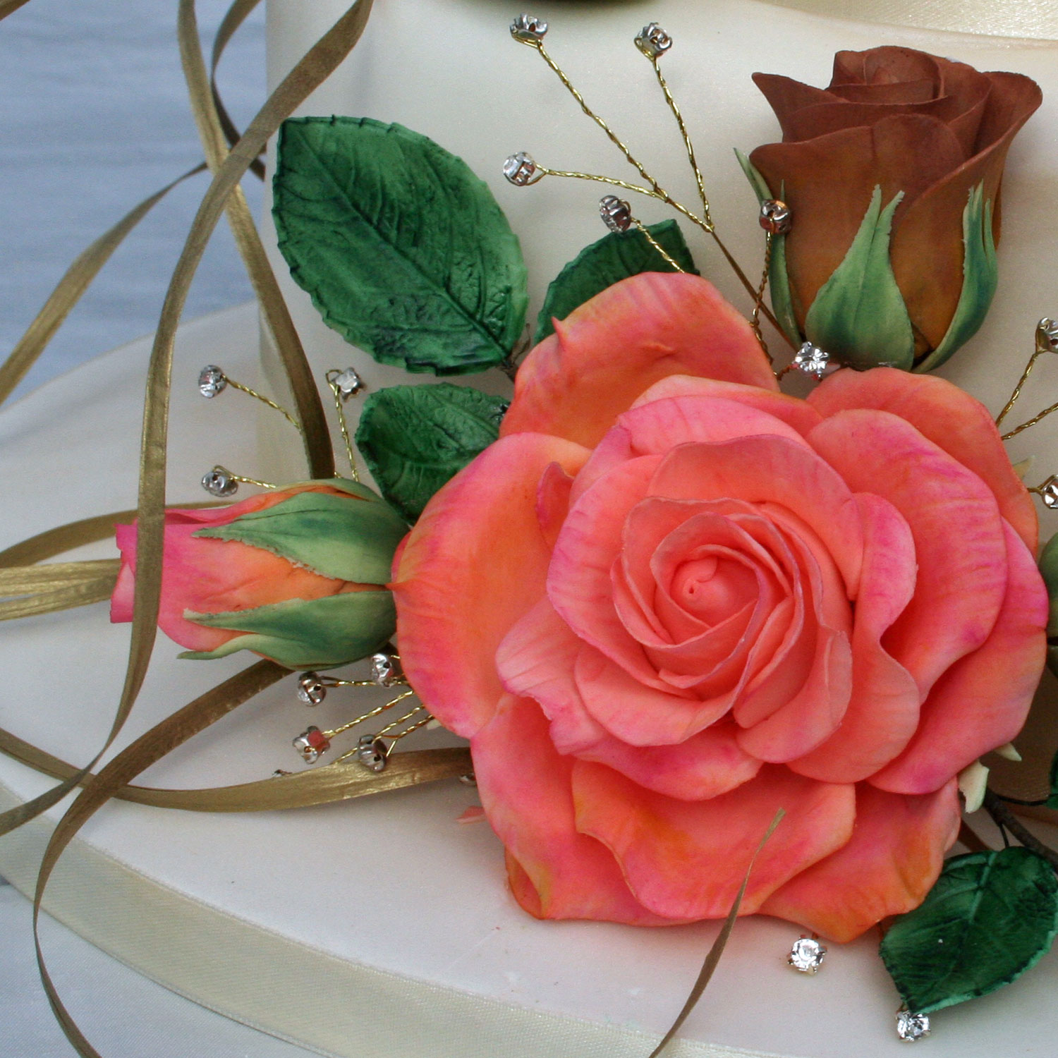 Salmon Pink Shaded Sugarcraft Roses