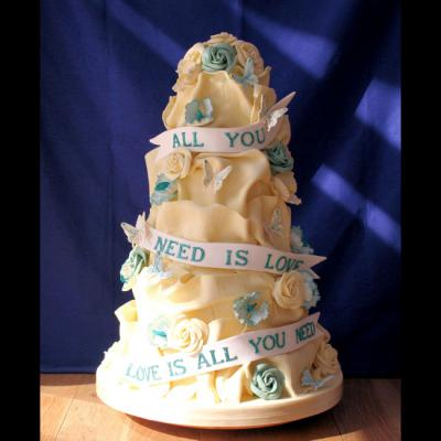 Teal Themed All You Need Is love Wedding Cake