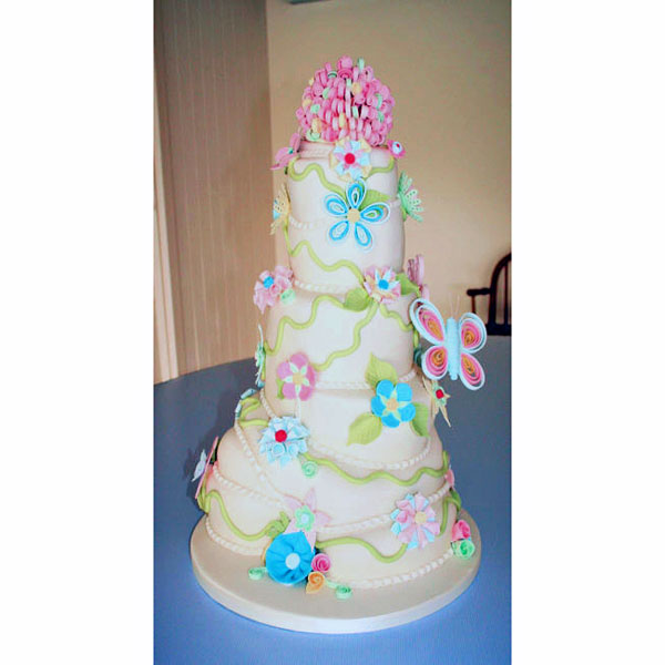 Multi tiered Wedding Cake with Sugarcraft Flowers and Butterflies