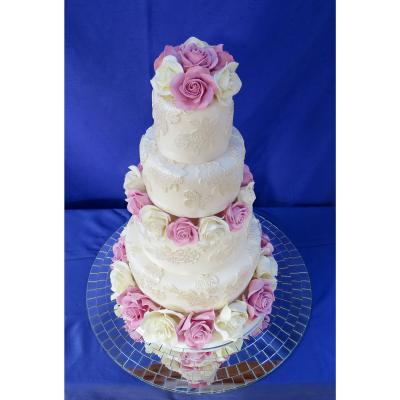 Four Tier Wedding Cake with Sugar Roses