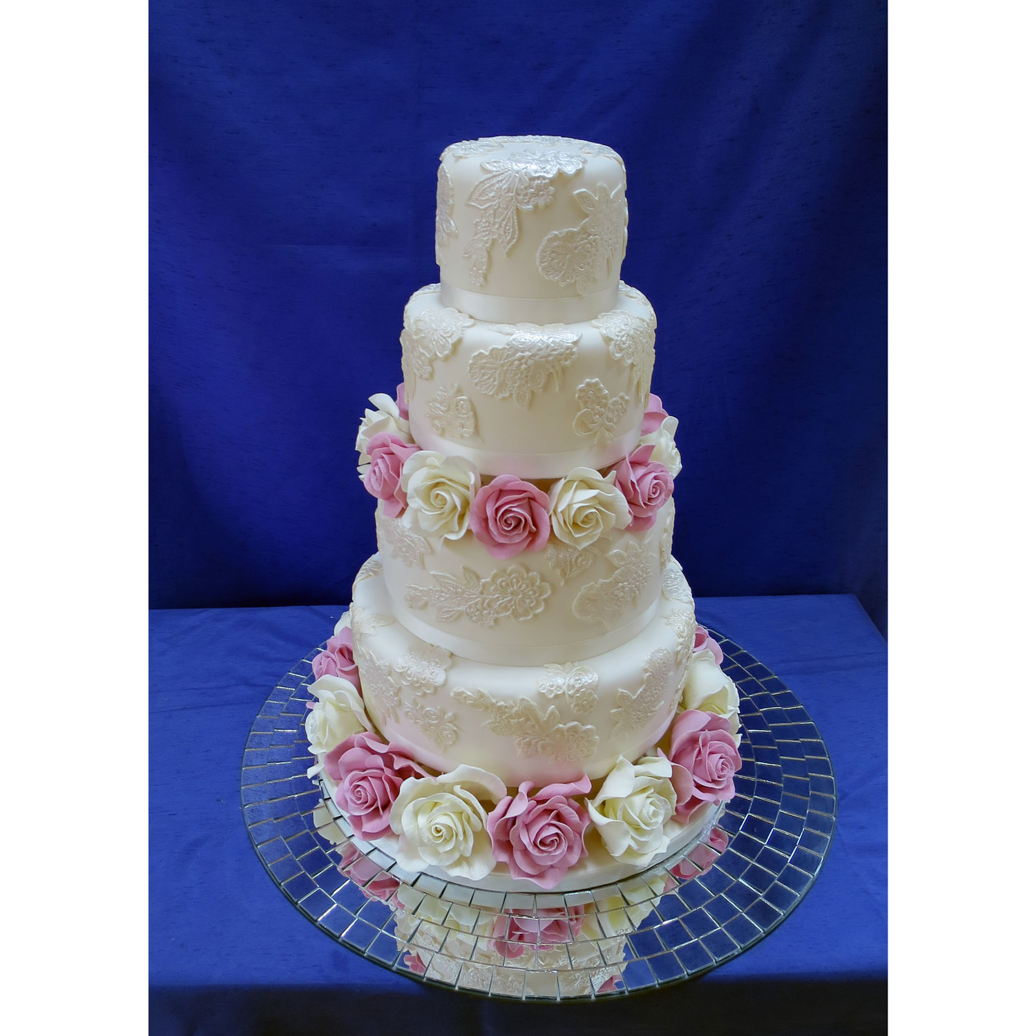 Lace Covered Wedding Cake with Sugar Roses