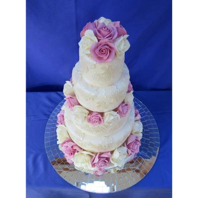 Four Tier Lace Covered Wedding Cake