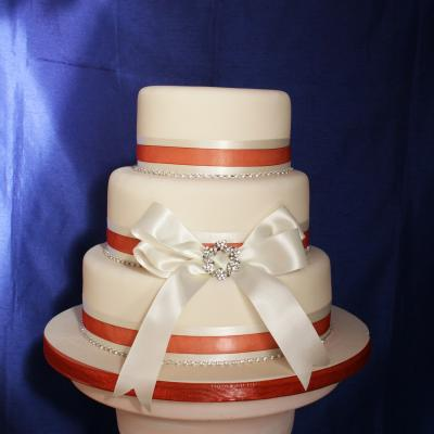 Satin Ribbon Trimmed Wedding Cake