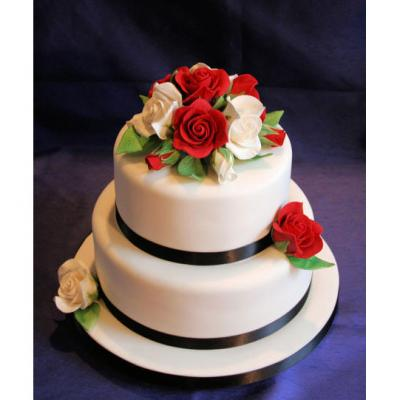 Two Tier Wedding Cake with Sugar Roses
