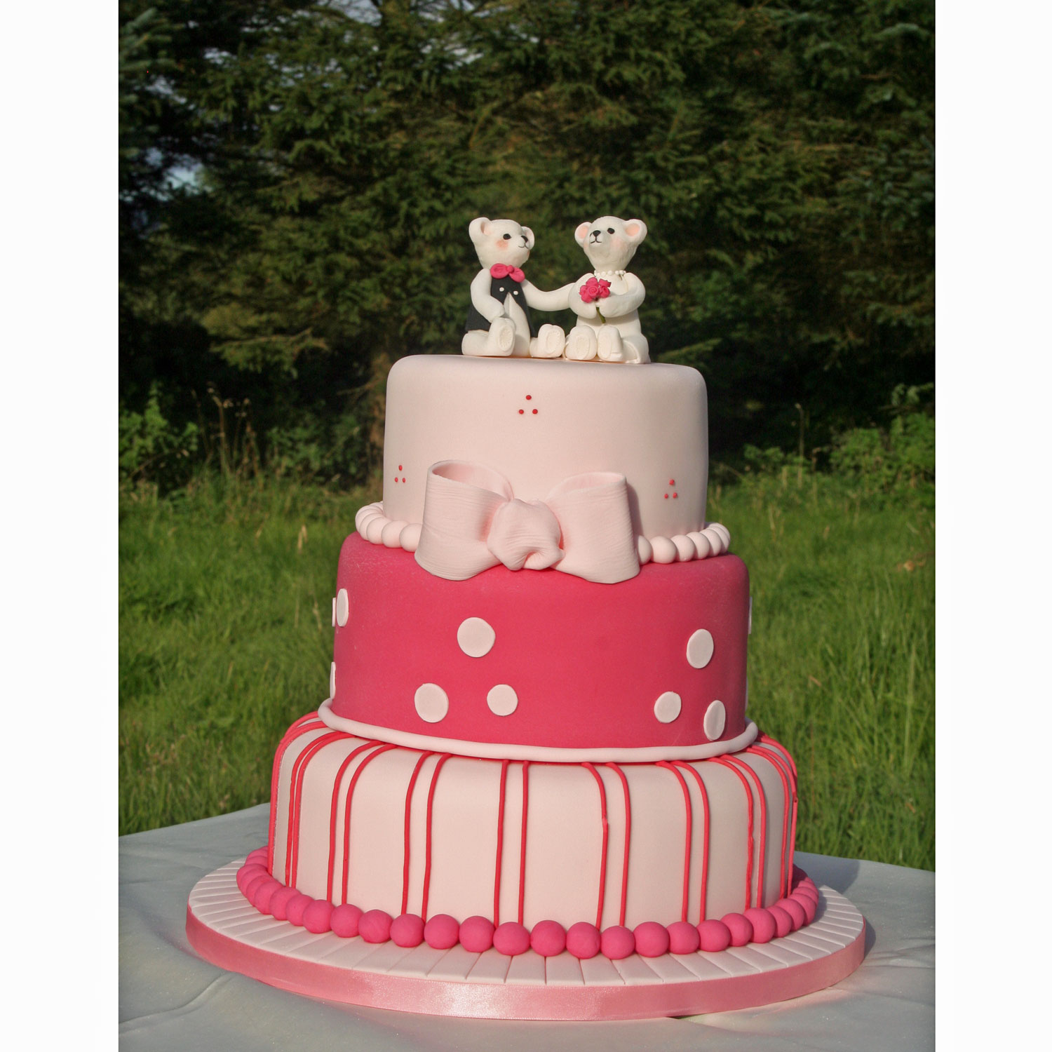Wedding Bears on a Rasberry Pink Themed Cake