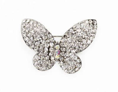 Diamante Butterfly Brooch