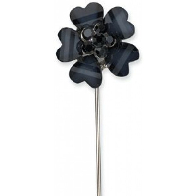 Black Flower with Diamante Centre