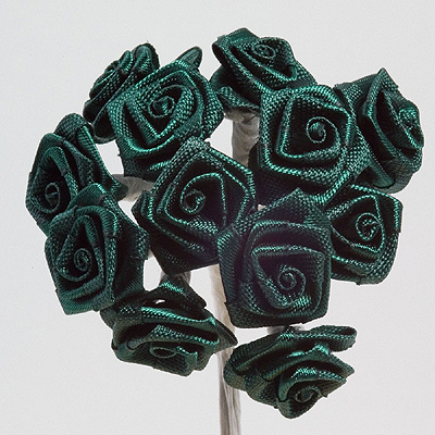 Bottle Green Ribbon Roses