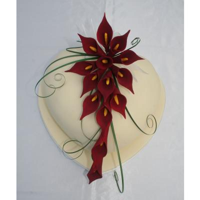 Chooclate Heart Decorated with Burgundy Calla Lilies