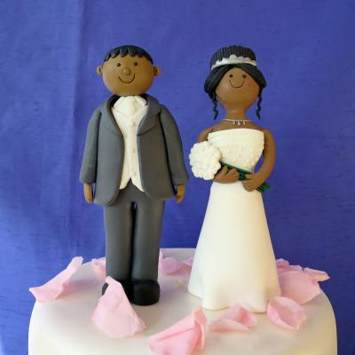 Coloured Bride and Groom Wedding Cake Toppers