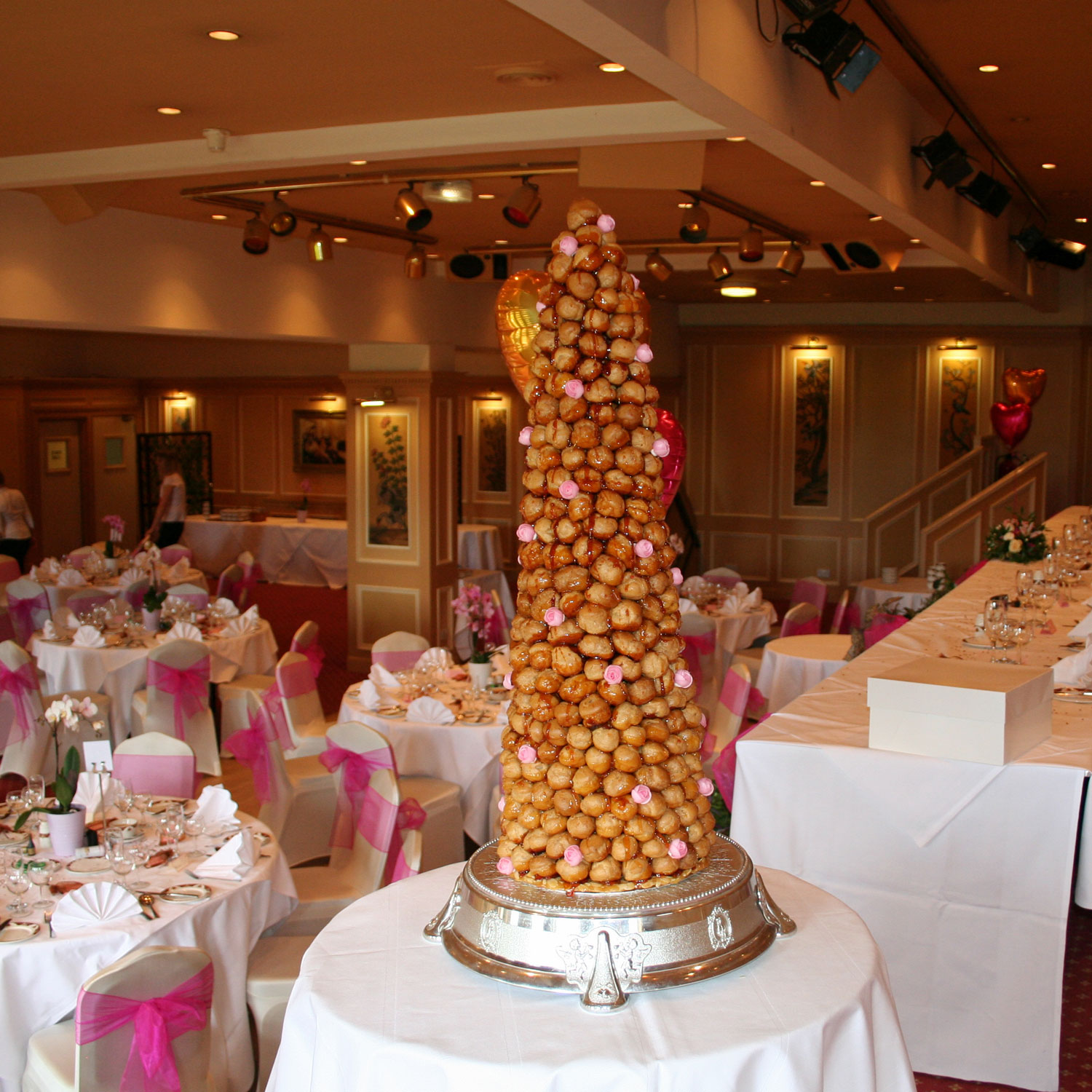 French Croquembouche Decorated with Pink Wafer Roses