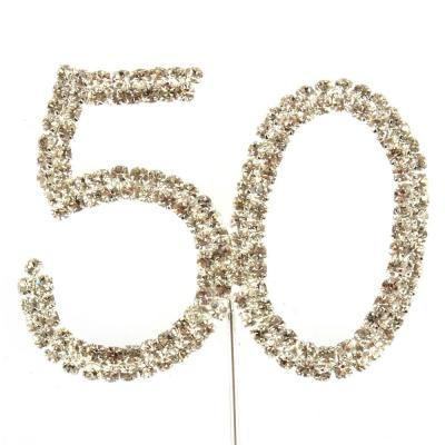 Silver Diamante 50 Cake Topper