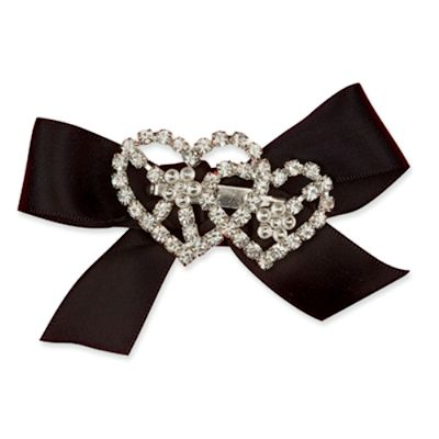 Double Heart Diamante Brooch