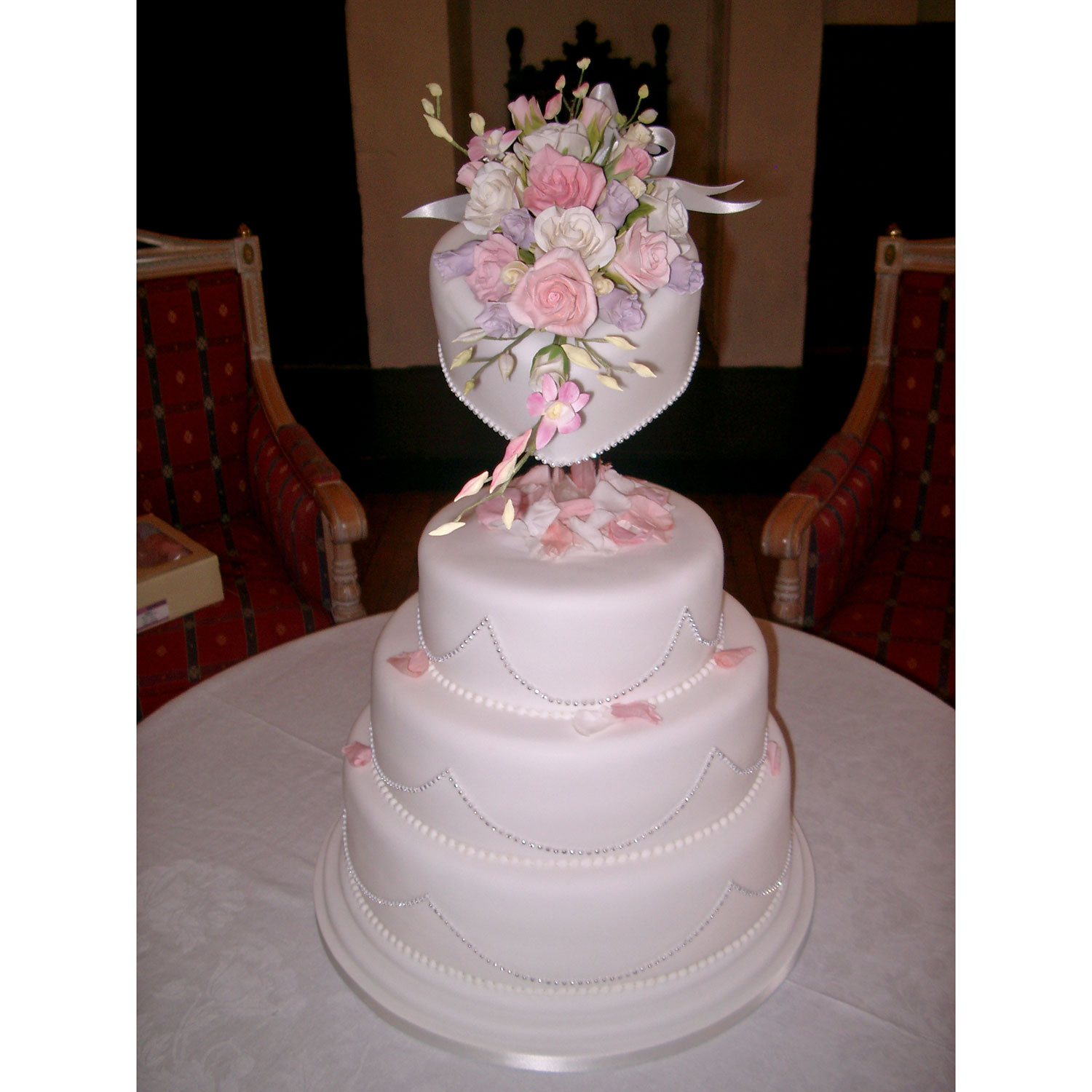 3 Tier Piped Dots And Diamante Wedding Cake: Floral Wedding Cakes Floral Wedding Cakes And Cakes With