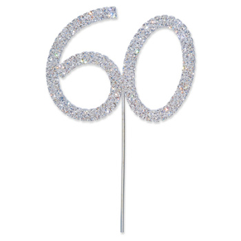 Diamante Number 60 Cake Topper