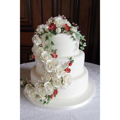 Three Tier Wedding Cake with Sugar Roses, Freesia and Variegated Ivy