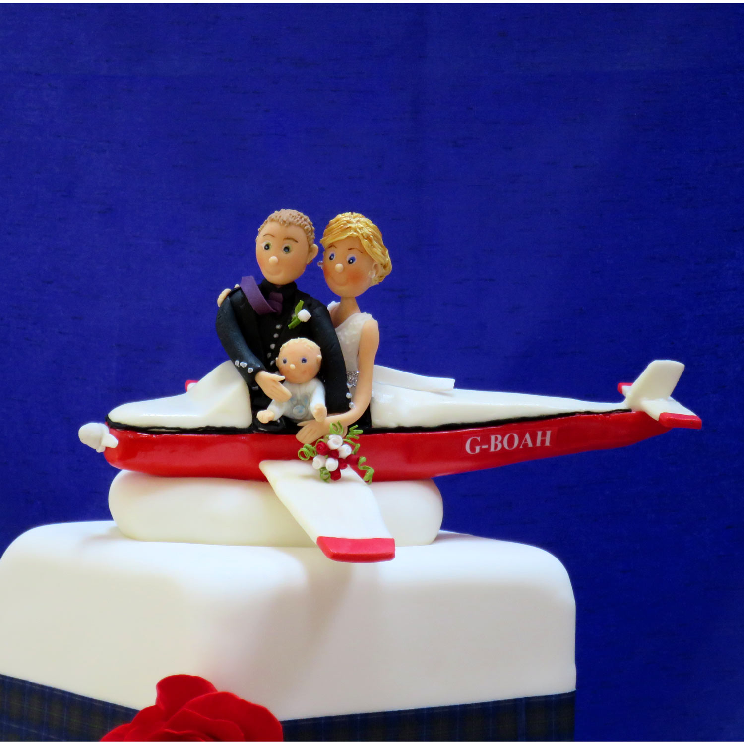 Flying Bride, Groom and Baby Cake Topper.