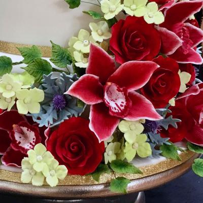 Sugarcraft Orchids, Red Roses and Thistles
