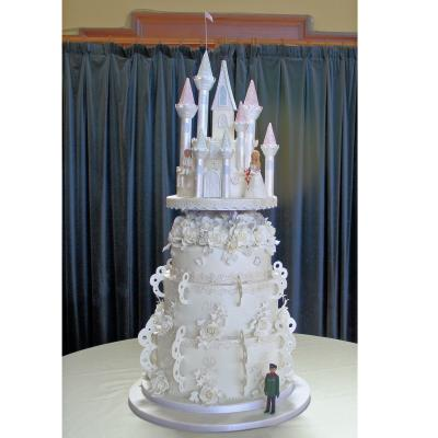 Cake with handmade Bride and Groom Figurines