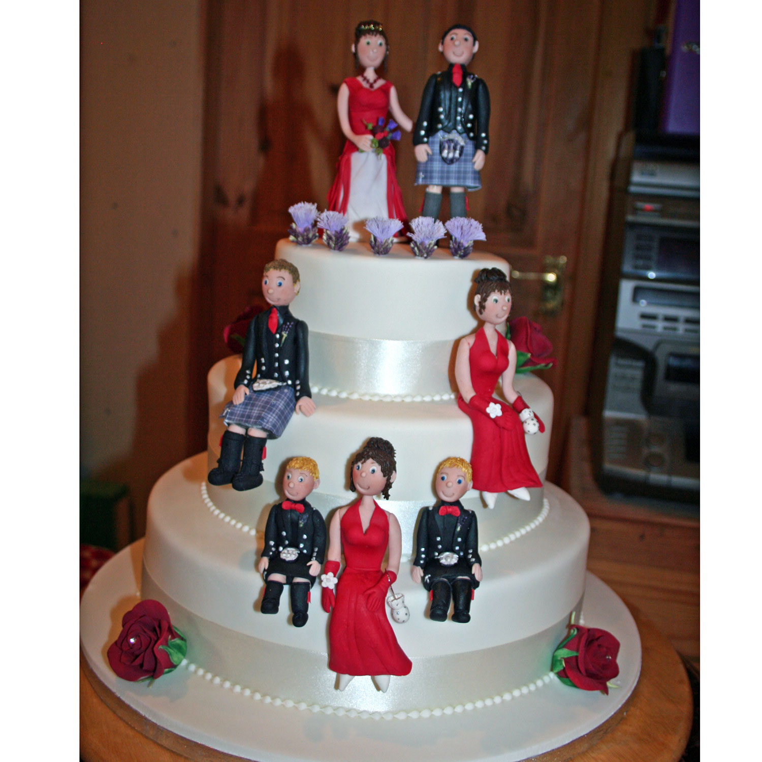 Three Tier Cake with Hand-crafted Wedding Party