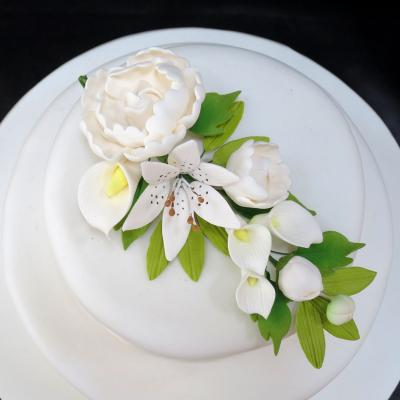 Ivory Peony and Lily Cake Decoration