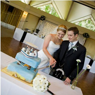 Cutting the Cake - Jaws Wedding Cake