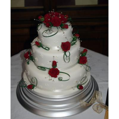3 Tier Wedding Cake with Red Sugarcraft Roses